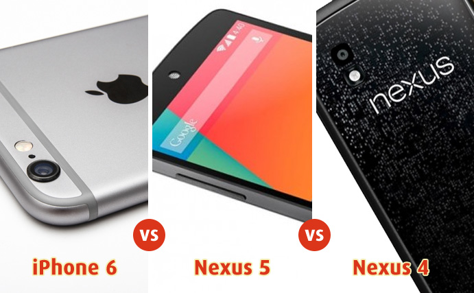 Apple iPhone 6 vs Google Nexus 5 vs Google Nexus 4